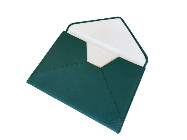 laptop case in forest green - inside view