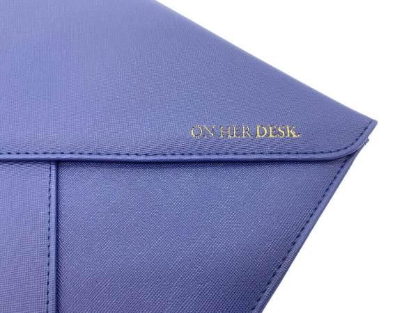 document or laptop wallet navy blue gold foil detail