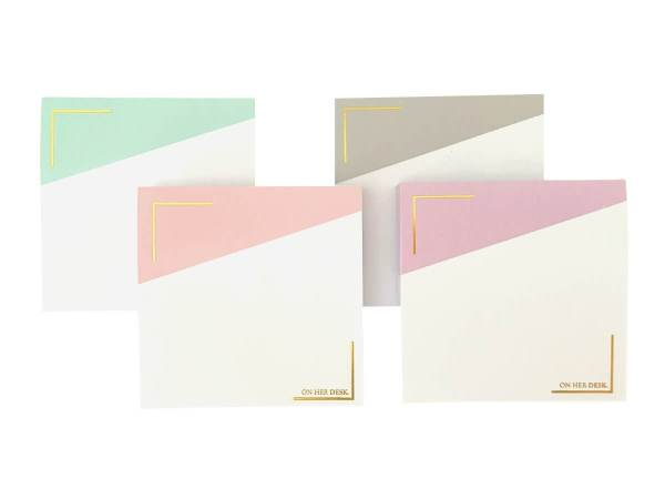 Sticky notes with gold foil detail