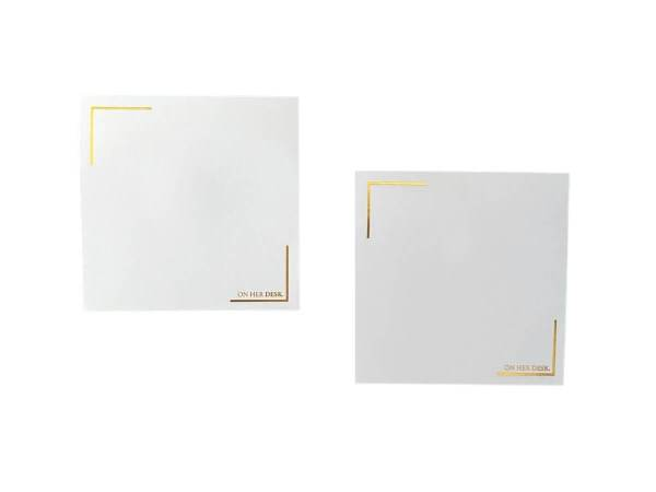 white sticky notes with gold foil, included with all sticky note holders