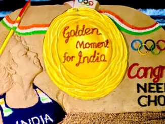Sudarsan Pattnaik Pays Tribute To Neeraj Chopra With Sand Art After His Tokyo Olympics 2020 Gold Medal Triumph (See Posts)