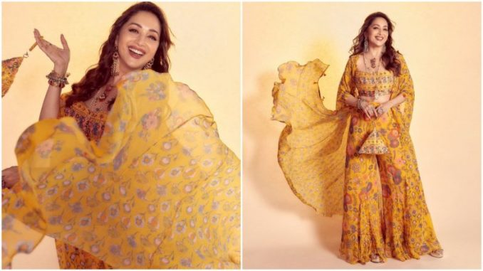 Madhuri Dixit Continues Her Obsession for Ethnic Attires With this Vibrant Yellow Outfit