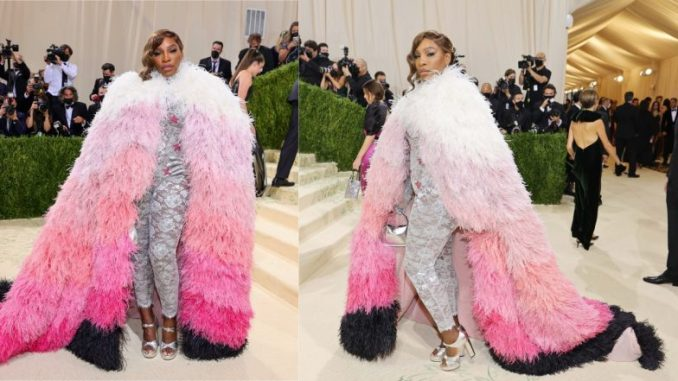 Met Gala 2021: Serena Williams Dresses to the Nines, Wears Gucci Silver Bodysuit With Pink Feather Cape