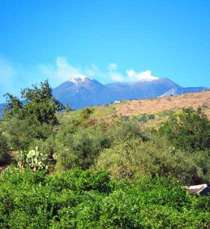 La vue sur l'Etna depuis l'agritourisme en Sicile
