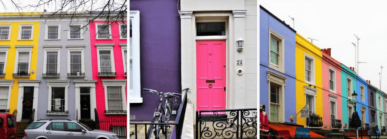 Les façades Notting Hill à Londres