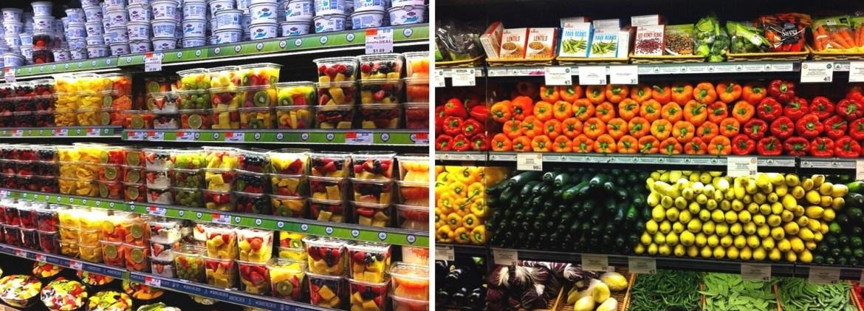 Produits frais dans un supermarché américain