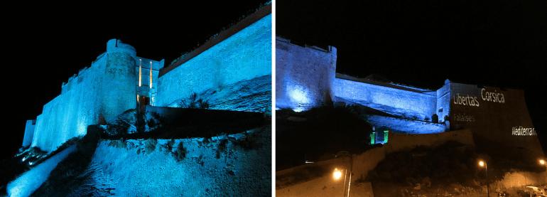 Bastion de l'Etandard de nuit à Bonifacio
