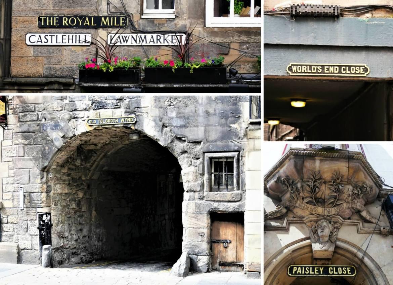 Diverses enseignes dans le Royal Mile à Edimbourg