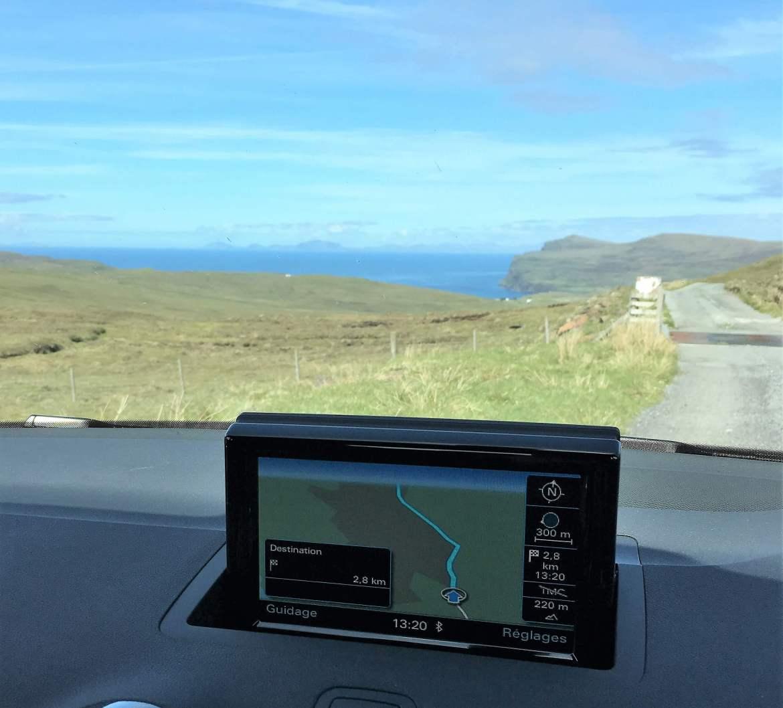 Notre GPS et la route perdue pendant notre Road trip en Ecosse