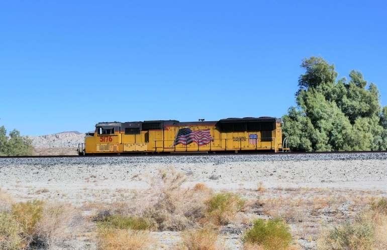 Train américain au Salton Sea