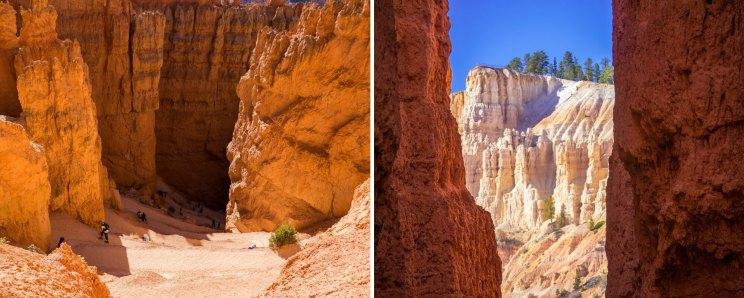 Randonnée Navajo Trail passage de Wall street à Bryce Canyon