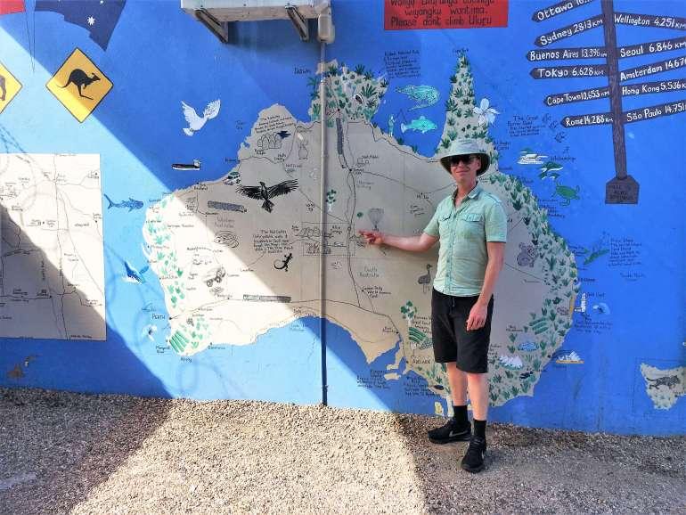 Street art Alice Springs et carte d'Australie