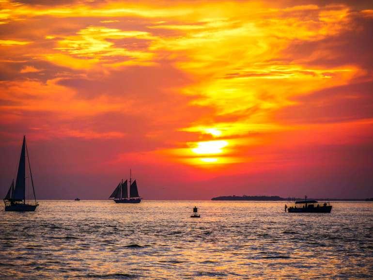 Coucher de soleil depuis Mallory Square à Key West