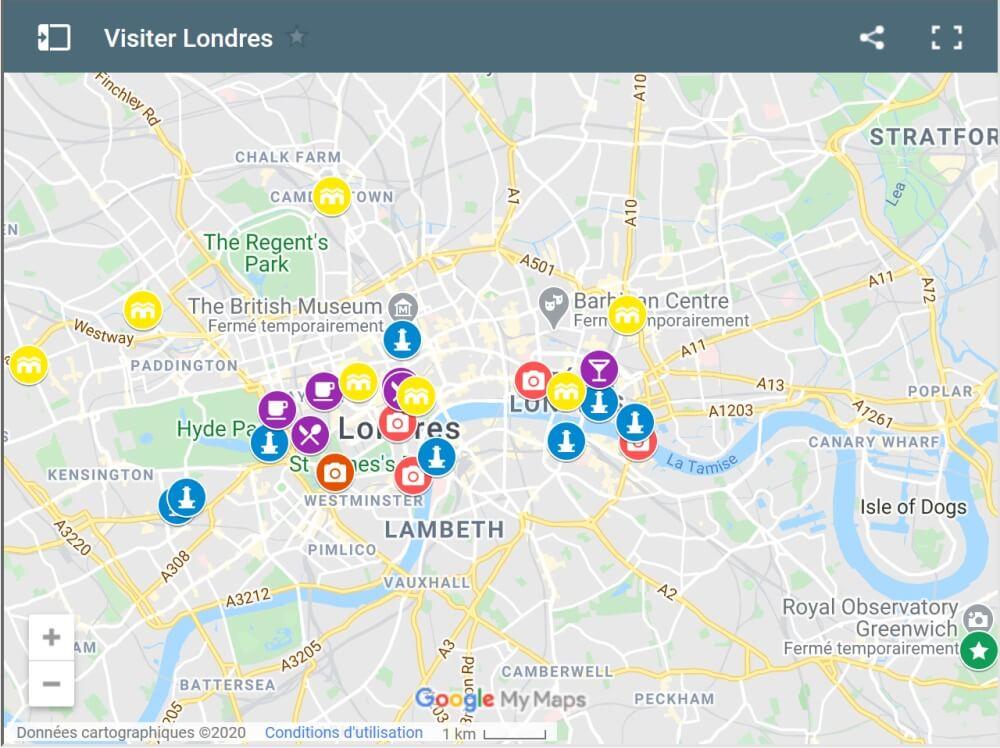 Carte visiter Londres