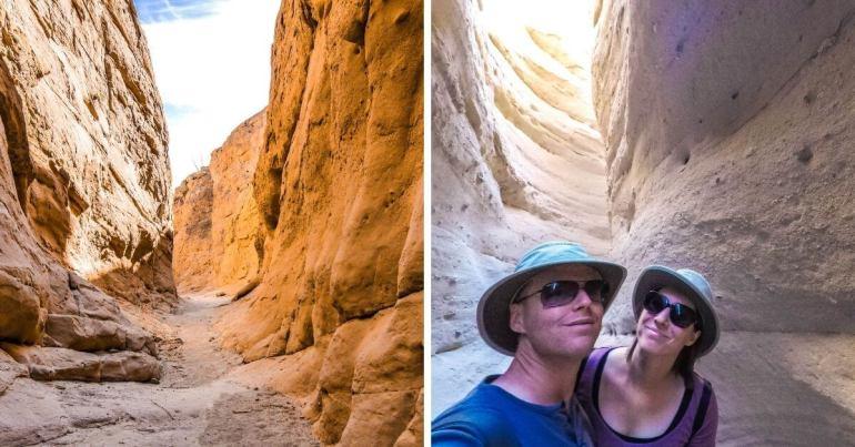 Entrée dans le canyon à fente de South Fork Palm Wash Anza Borrego Desert
