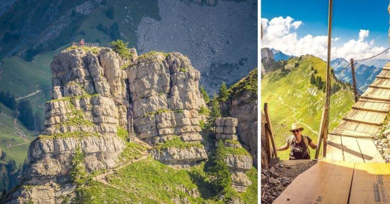 Escaliers de Oberberghorn Panoramaweg Schynige Platte