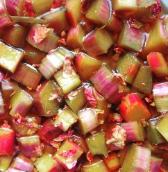 Rhubarb macerating with rose petals for a shrub.
