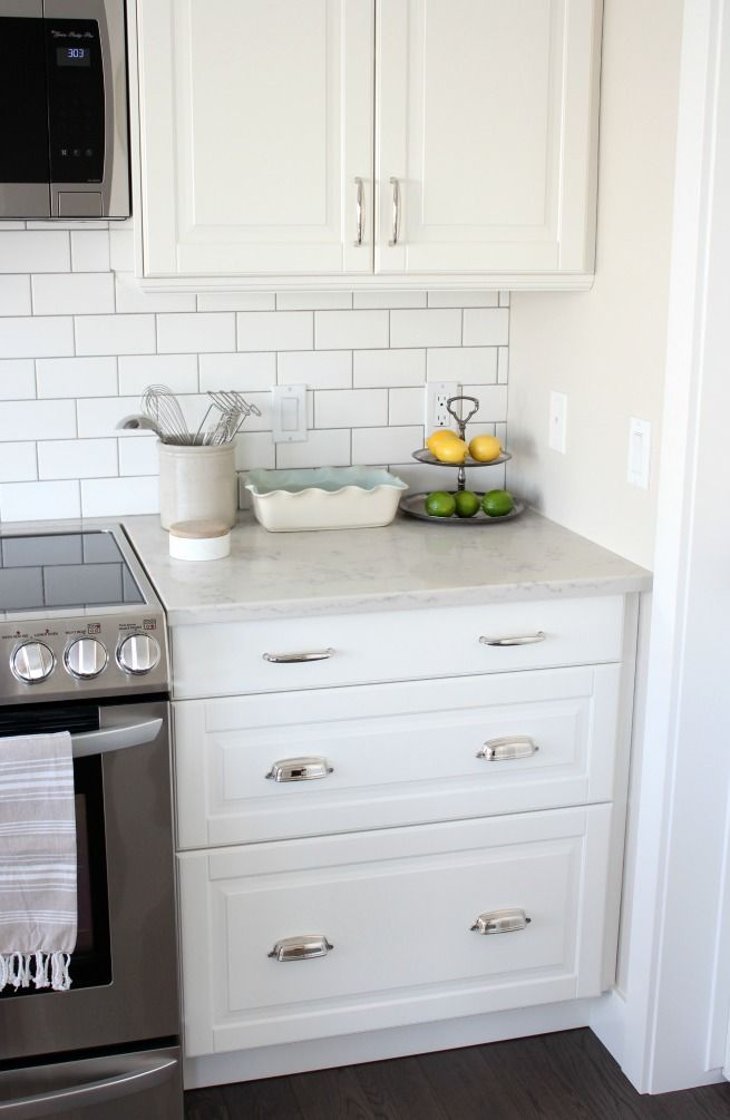 Kitchen Makeover With White Ikea Kitchen Cupboards Subway Tile Backsplash And Ma On Ideal