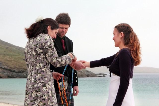 Scottish Handfasting Ceremony on a remote Hebridean beach conducted by Onie Tibbitt, Agnostic Scotland Wedding Celebrant.