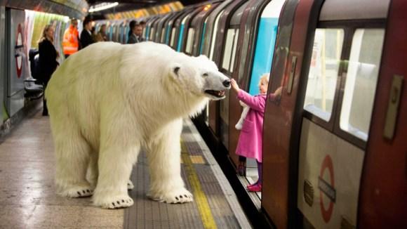 ロンドン中心部に巨大シロクマが現れてイギリス騒然