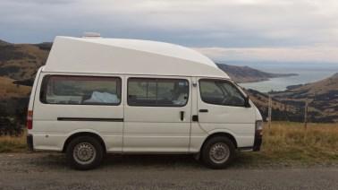 Un grand campervan en Nouvelle Zélande
