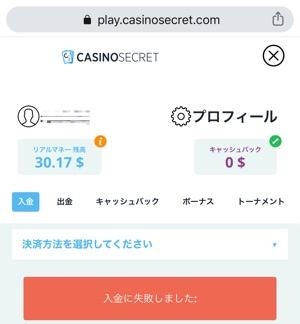 カジノシークレット ecoPayz入金