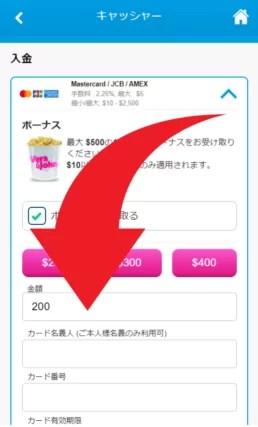 ベラジョンカジノの入金方法(SP)②