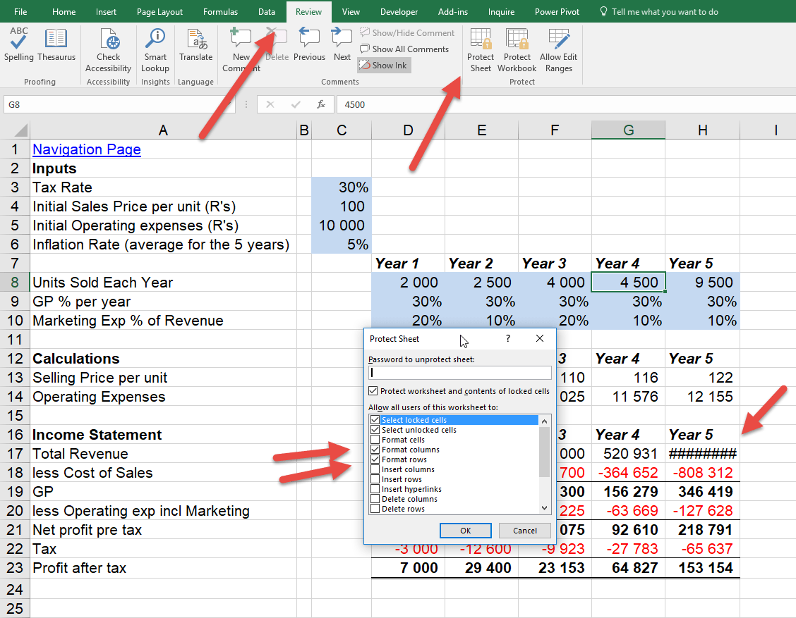 Lock Cells But Allow Column Row Size Change Online