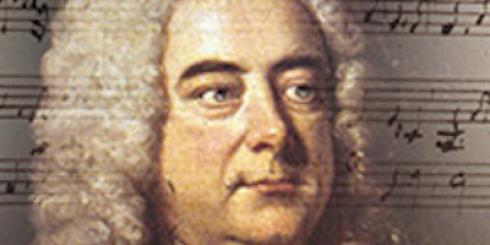 Portrait of George Frederic Handel with music staff and notes in the background.