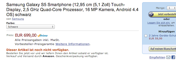 samsung galaxy s5 amazon vorbestellen