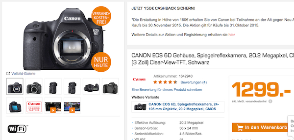 canon eos 6d saturn super sunday 150 euro cashback
