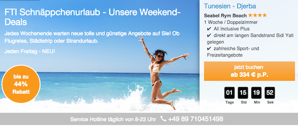 fti weekend deals rabatt reisen