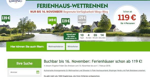 center parcs ferienhaus wettrennen ab 119 euro