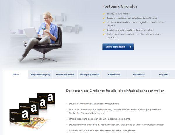 postbank giro 250 euro prämie amazon gutschein