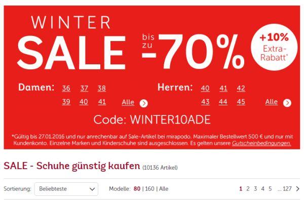 mirapodo winter sale 70 prozent rabatt 10 prozent on top