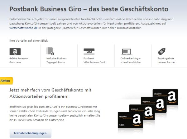 postbank aktion 200 euro amazon gutschein