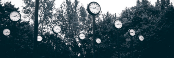 clocks in a wood to show ad scheduling