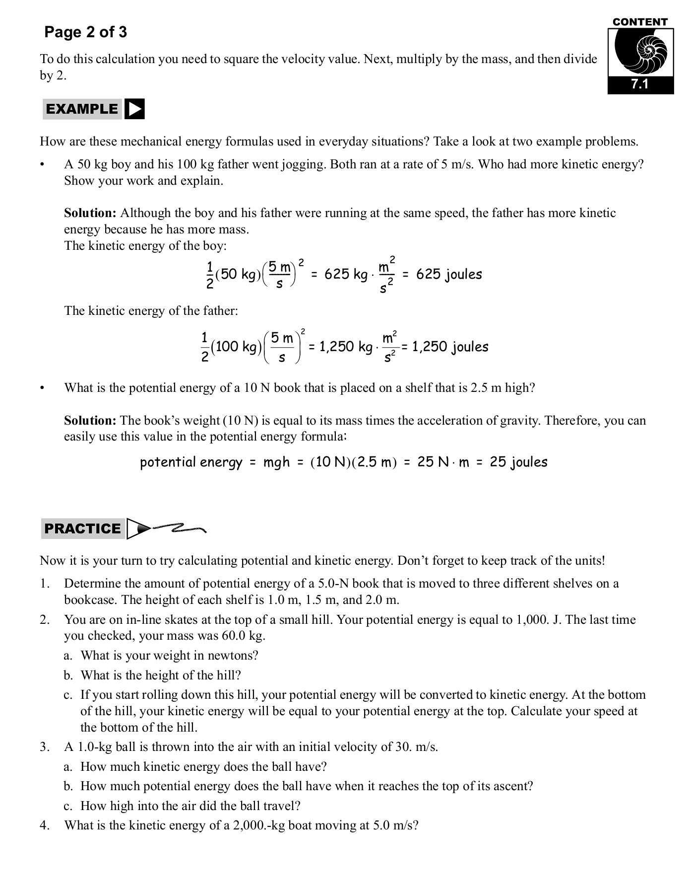 Kinetic And Potential Energy Worksheet Answers Key