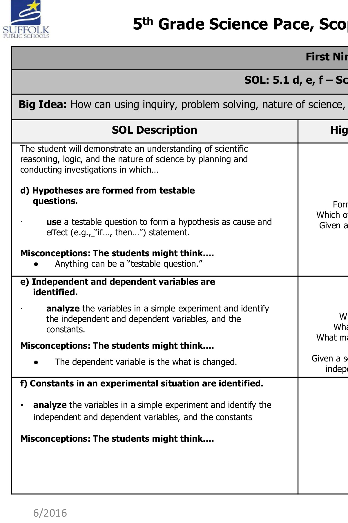 Science Grade 5th Grade Scope And Sequence Math