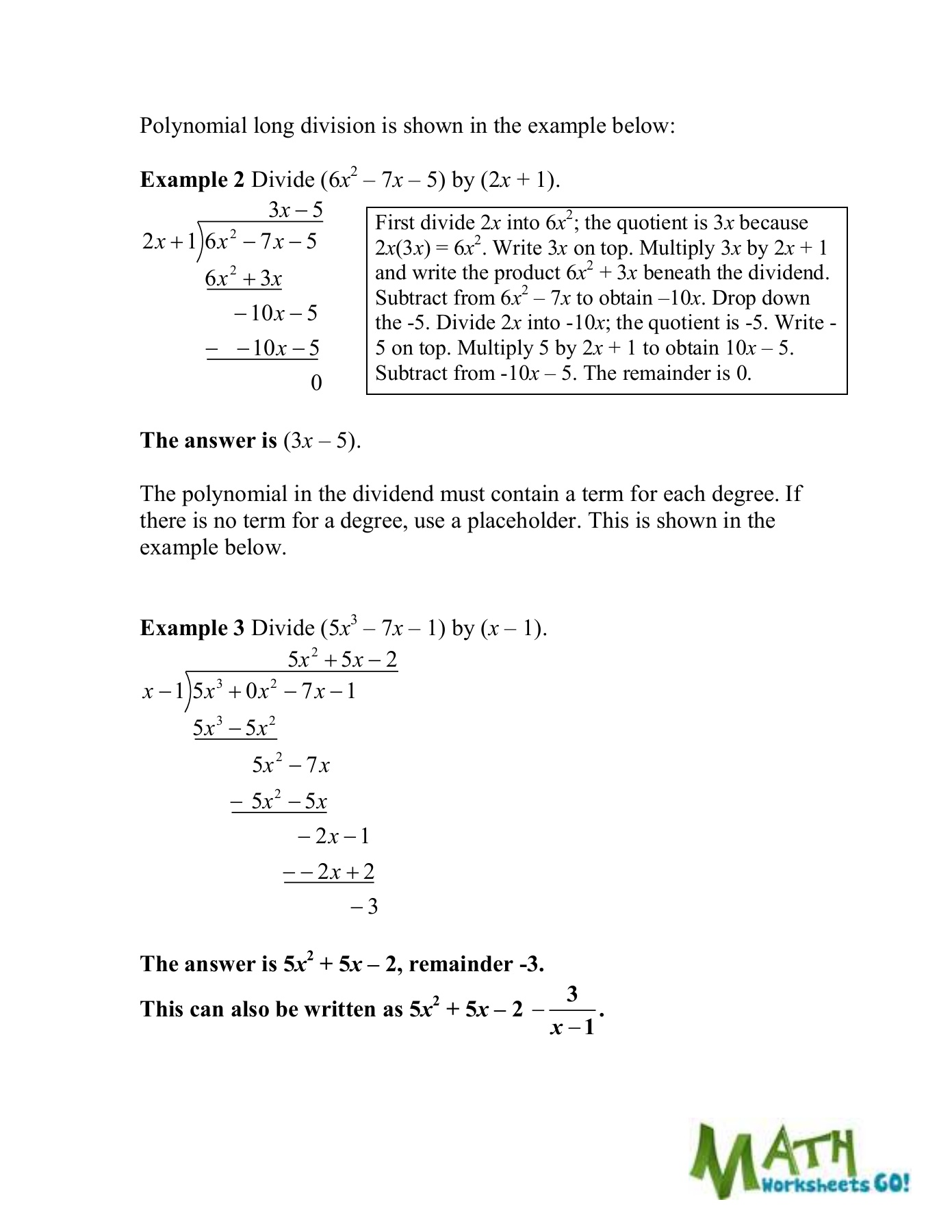 Dividing Polynomials Worksheet Answers