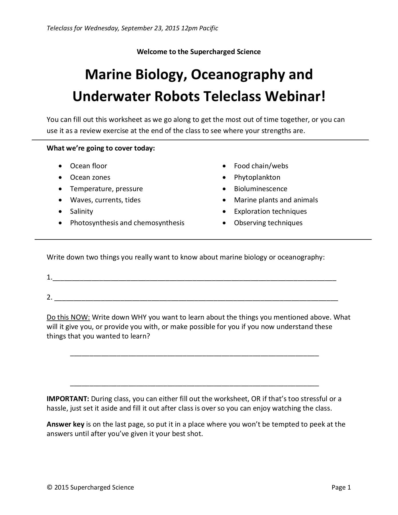 The Ocean Floor Worksheet Answer Key