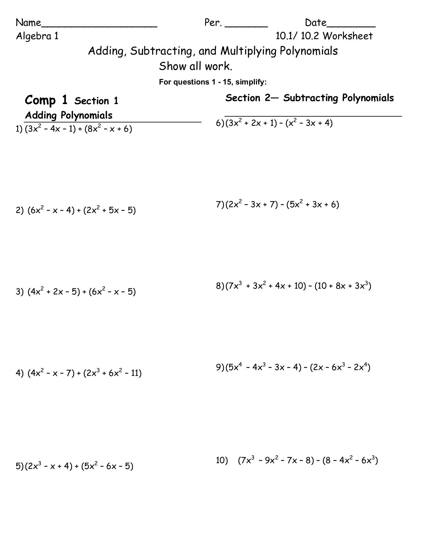 Adding And Subtracting Polynomials Practice Worksheet