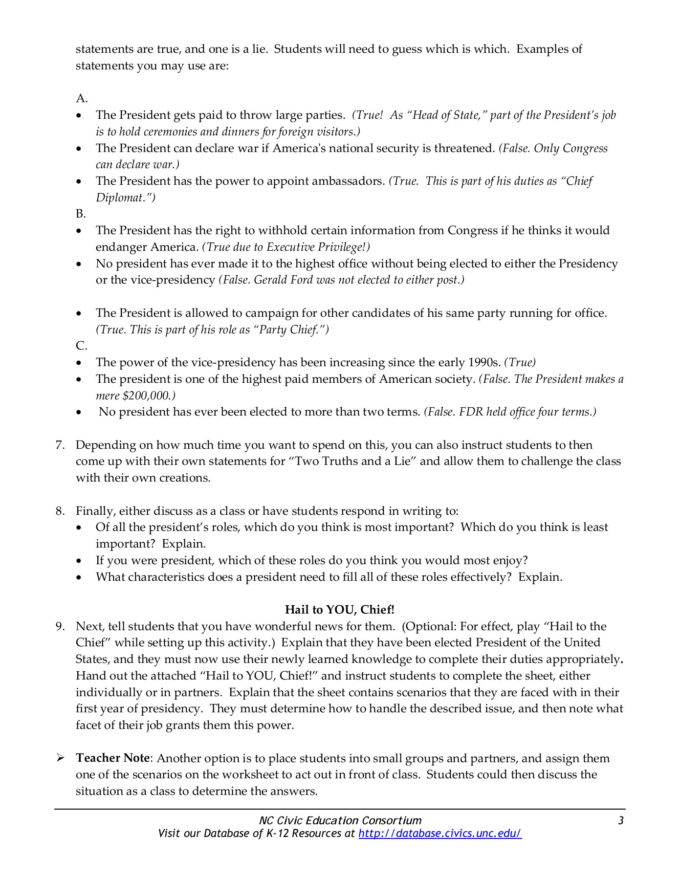 The Roles Of The President Worksheet Answers