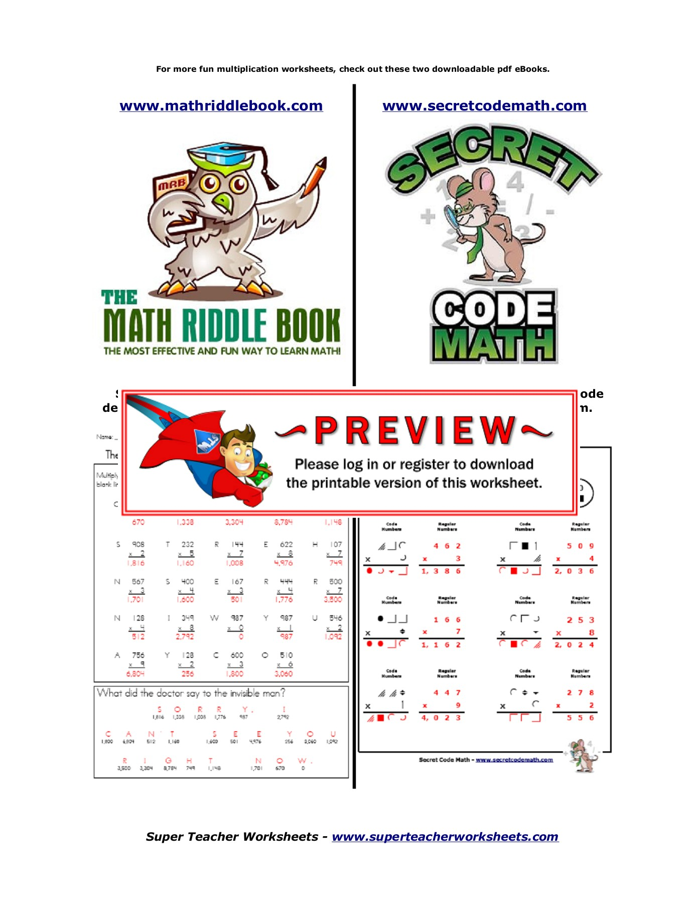 Multiplication Search Super Teacher Worksheets