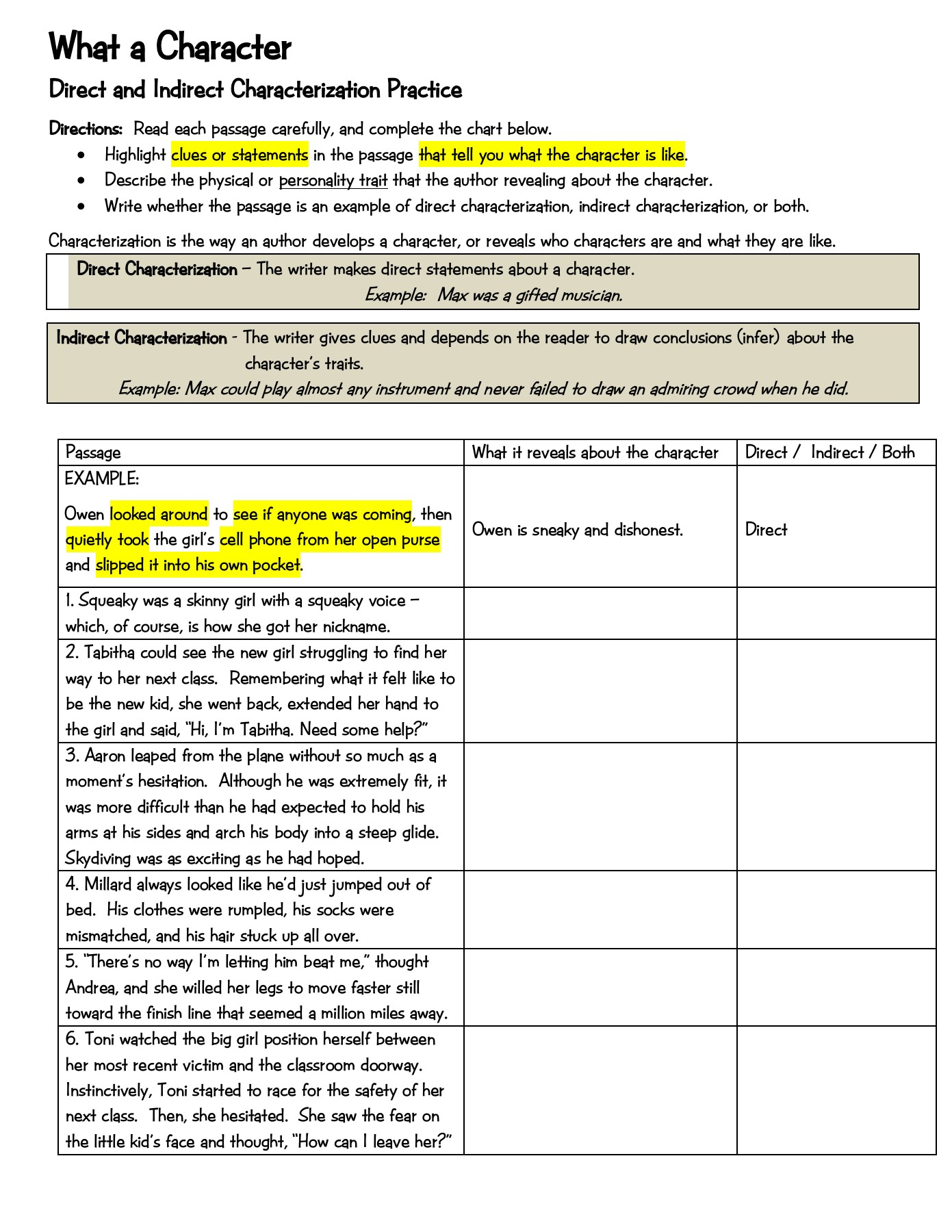 Indirect And Direct Characterization Worksheet