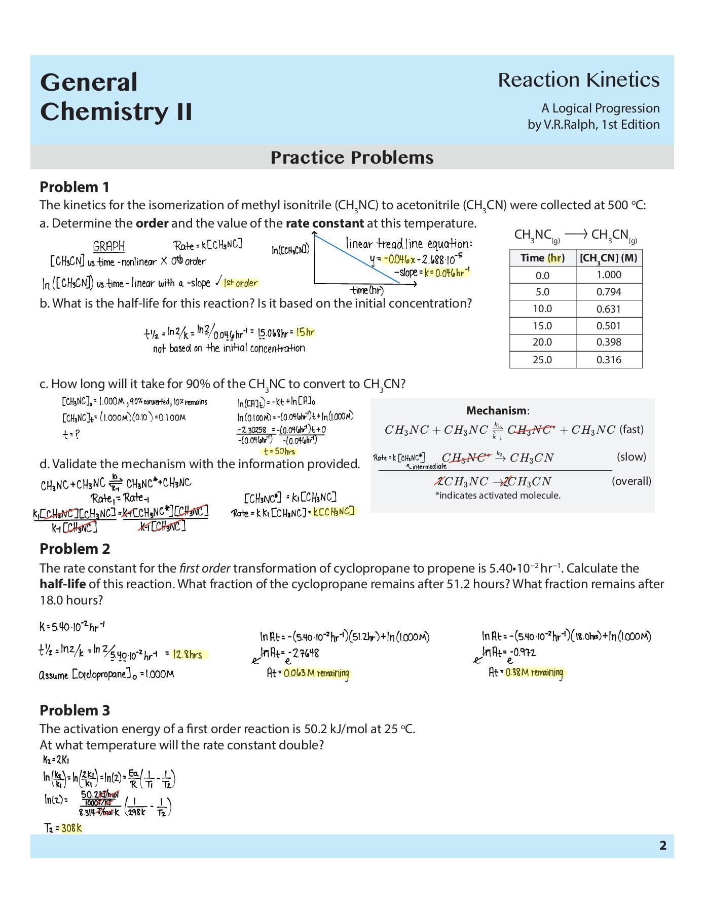 Chemical Kinetics Worksheet Answers