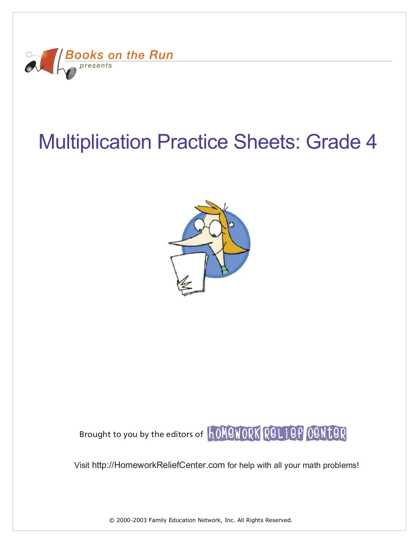 Multiplication Sheets Grade 4
