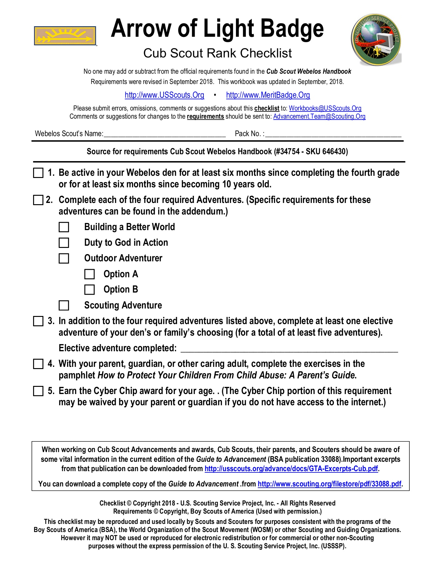 Webelos Arrow Of Light Requirements Worksheet