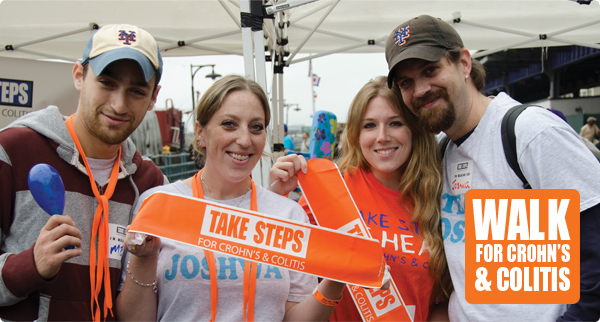 Walk for Crohn's & Colitis: 4 young people holding a sign that says Take Steps