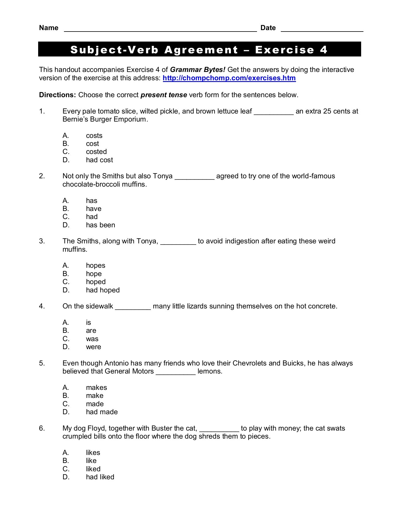 Exercises On Subject Verb Agreement With Answers